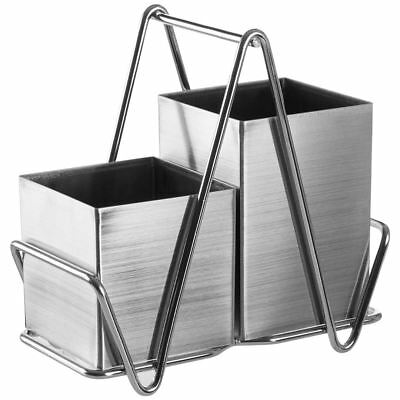 2 Compartment Cutlery Caddy Stainless Steel Sink Tidy Drainer Holder With Handle
