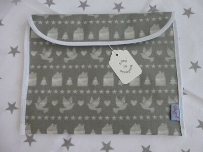 Handmade Baby Health Red Record Book Holder 'Grey Oilcloth' -Fully Lined - BNWT