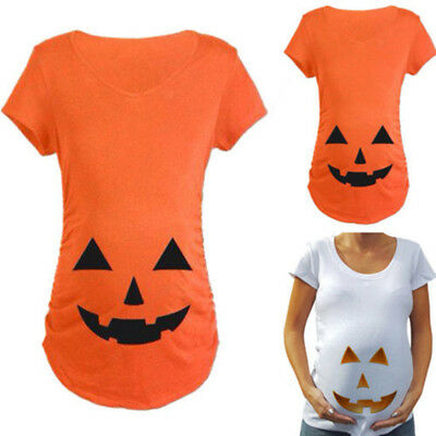 US SHIP Pregnant Pumpkin Carved Face Maternity T-shirt Pregnancy Tops Halloween