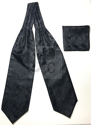 Men Black Paisley Italy Design Free Style Casual Ascot Cravat And Pocket Square
