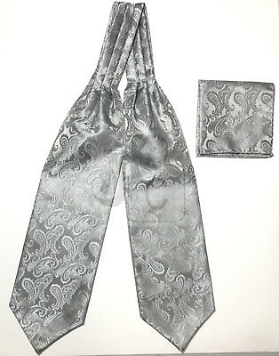 Men White Paisley Italy Design Free Style Casual Ascot Cravat And Pocket Square