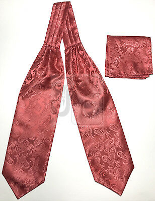 Men's Coral Paisley Free Style Casual Ascot Cravat And Pocket Square Hanky