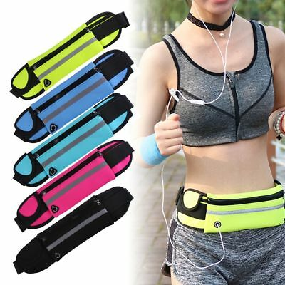 Running Hiking Sport Bum Bag Travel Money Phone Pack Waist Belt Zip Pouch CA