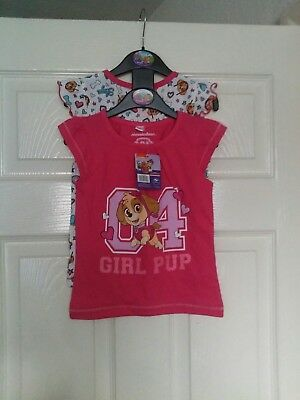 girls paw patrol t shirts twin pack size 12-18ms