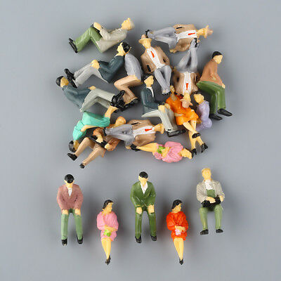 20 x Seated People Figures Model Park Scenery DIY 1:30 Scale Multicolor Painted