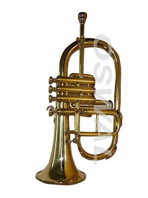 """Marvelous Bb 4 Valve""""Flugel Horn With Free Hard""""Case+Mouthpiece"""