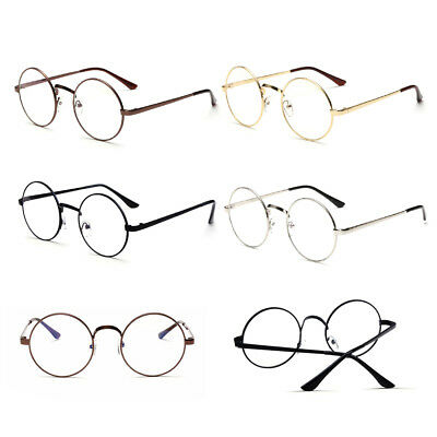 Fashion Unisex Big Round Vintage Glasses Metal Frame Clear lens Sunglasses UK
