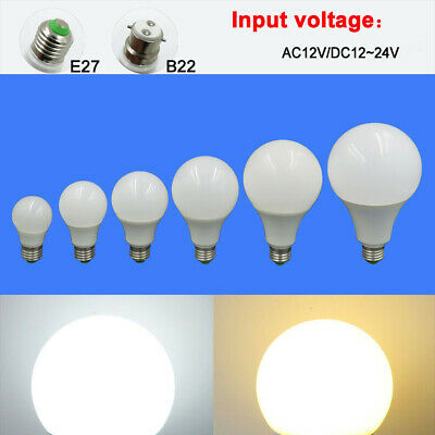 E27/B22 3W 5W 7W 9W 12W 15W LED Light Globe bulb AC12V /DC 12~24V No flicker #T
