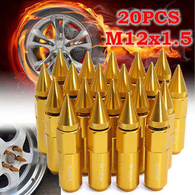 20X Aluminum Car Truck M12X1.5 Wheels Rims Lug Nuts Spiked 60mm Extended Tuner
