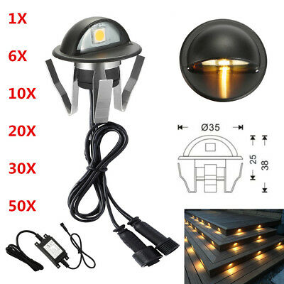 6/10/20/30/50X 12V Black Half Moon Outdoor Path LED Deck Stair Step Fence Lights