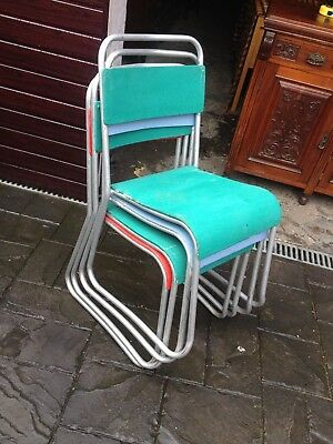 Set of 4 Painted Mid Century Tubular Stacking Chairs