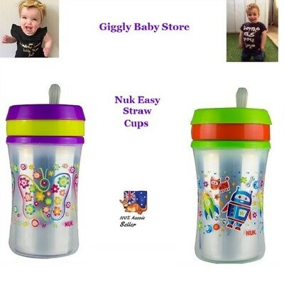 Nuk Sippy Cup 250ml Easy Soft Silicon Straw Leak Proof 12 Month+ Baby Toddler