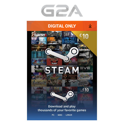 £10 Steam Gift Card - 10 GBP Pounds UK Steam Wallet - Digital Prepaid Gift Card