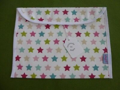 Handmade Pink/Green Star Baby Health Red Record Book Holder - Fully Lined - BNWT