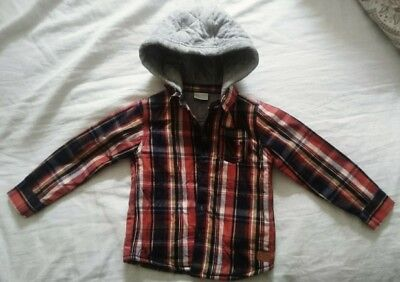 Boys warm quilted lumberjack check shirt with hood NEW 18-24 months