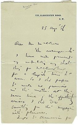 J. M. Barrie. Autograph letter signed to the publisher McClure. 1896