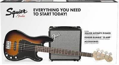 Squier Affinity Series Precision Bass PJ Pack, Brown Sunburst
