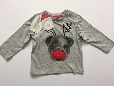 Mothercare Grey Christmas Light Up Long Sleeve Top Age 3-6 Months