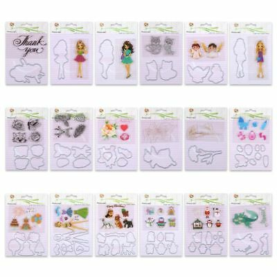 Clear Stamps & Metal Cutting Dies Girl Flower Snowman Scrapbooking Paper Cards