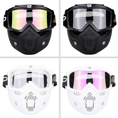 Detachable Modular Motorcycle Riding Bike Helmet Open Face Mask Shield Goggles