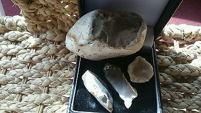 Neolithic flint donor stone and three nice blades not from same stone Yorks find