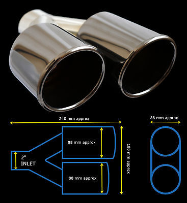 """UNIVERSAL STAINLESS STEEL BLACK EDITION EXHAUST TWIN TAILPIPE 2"""" IN-Lotus"""