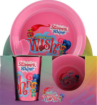 Girl's Shimmer And Shine 3 Piece Dinner Table Set - Plate Bowl Cup
