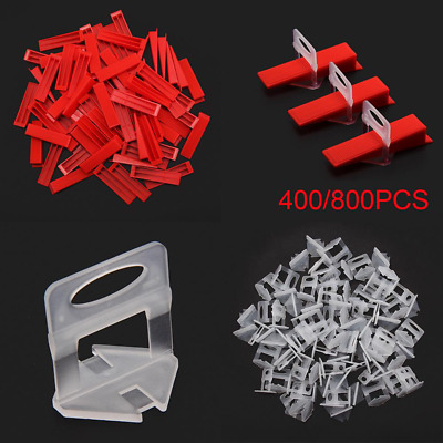 400/800Pcs Tile Leveling System Clips & Wedges Plastic Tiling Tools Red+White