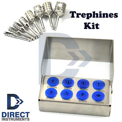 8 Pcs Dental Trephine Kit Surgical Implant Oral Surgery With FREE Bur Holder New