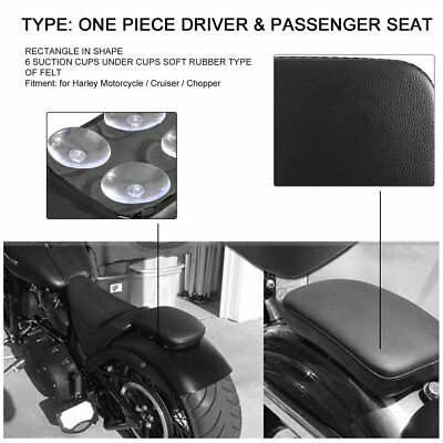 Black Leather Pillion Rectangle Pad Rear Seat 6 Suction Cup For Harley Custom P6