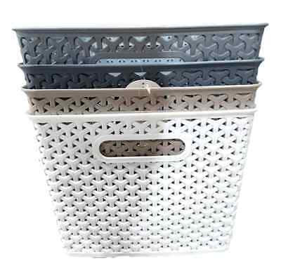 New 2xRectangle Multi-Purpose Plastic Basket Wicker Pattern Home Office Storage
