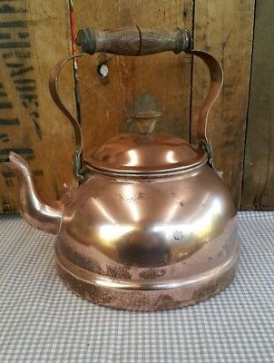 Vintage Rustic Copper Kettle - small dent
