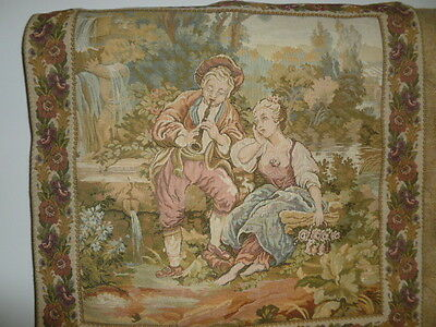 Antique style tapestry embroidery wall hanging pastoral scene XC