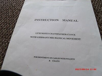 Grandfather Clock  In V.g.c 3 X Chime Setting  Inc Westminster Plus Key  8 Day