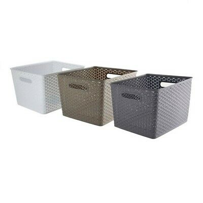 New 2xRectangle Multi-Use Plastic Basket Wicker Design Home Storage Organisation