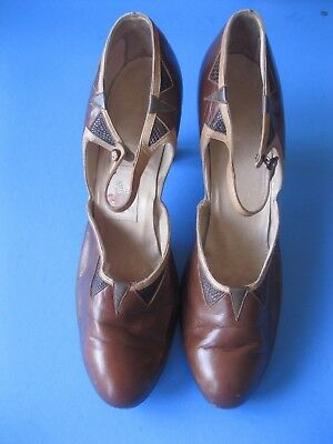 Vintage 1920's Flapper Shoes Brown Leather Ankle Strap Heels Size 5 Fashion
