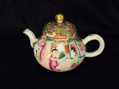 Beautiful Chinese 19thC Antiques Porcelain Oriental Famille Rose Teapot