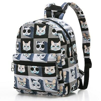 Lily & Drew Lightweight Canvas Mini Travel Backpack (Cat Grey)