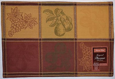 Woven Jacquard Placemat~Fall Fruit~Harvest Grapes~Autumn Apple~Thanksgiving~NEW