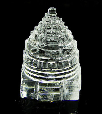 201.20 Ct Natural Sphatik Crystal Quartz Gemstone Shree Shri Sri Yantra - 5941