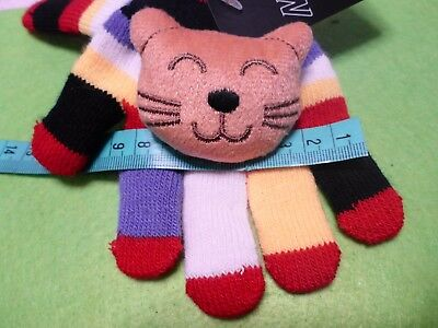 Girl's Gloves Child's 2-6 Years Bright Stripes Bold Colours Ginger Cat Soft Toy