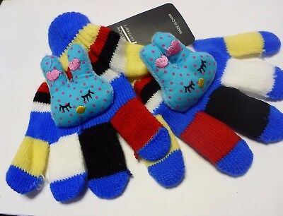 Girl's Gloves Child's 2-6 Years Bright Stripes Bold Colors Blue Sleepiing Bunny