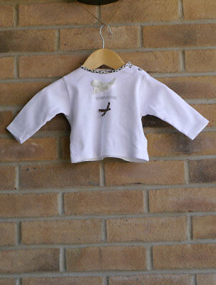 Roberto Cavalli Girls White Top with Leopard Trim and Bows 6 Months