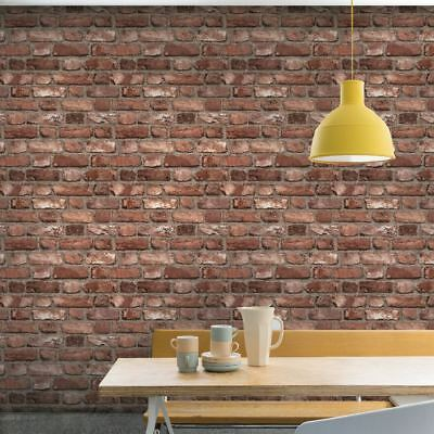 Red Vintage Old House Brick Wall Feature Designer Wallpaper Grandeco A28901