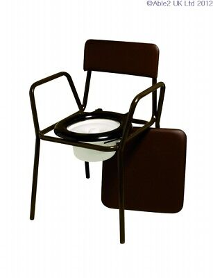 Compact Commode Chair with Detachable Padded Vinyl Seat - Adjustable Height