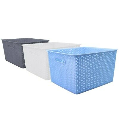NEW Large Rectangle Plastic Basket Wicker Design Home Office Storage Organisatio