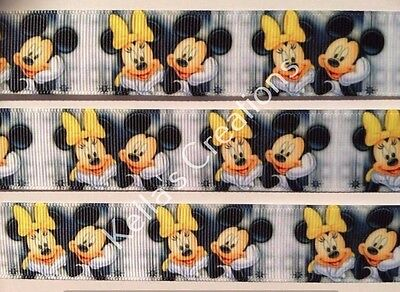 """Mickey & Minnie Mouse Grosgrain Ribbon 1"""" sold by 2 M- Craft -Hair- Cake"""