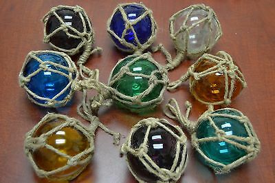 "8 Pcs Reproduction Glass Float Ball With Fishing Net 4"" **pick Your Colors**"