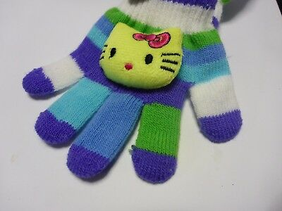 Girl's Gloves Child's 2-6 Years Bright Stripes Bold Colors Yellow Kitty Soft Toy