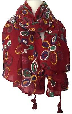 Red Embroidered Scarf Oversized Embroidery Tassel Wrap Multi Coloured Shawl New